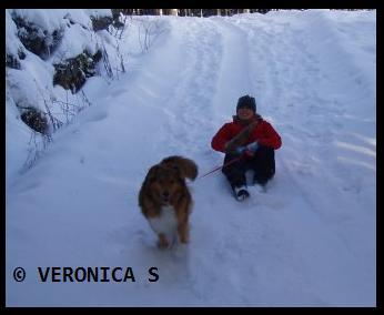 meg og hunden i full fart..